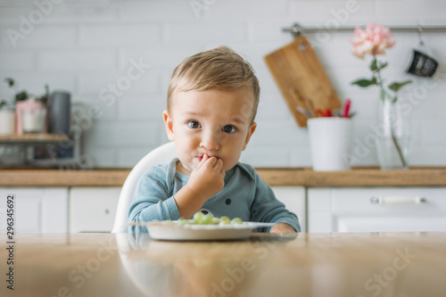 Charming little baby boy eating first food green grape at the bright kitchen at Canvas Print