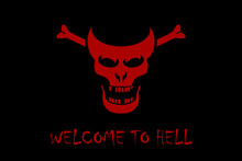 Stylized Red Skull Of A Demon On A Black Background With The Text Welcome To Hell