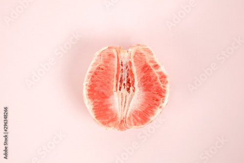 half peeled grapefruit Canvas Print