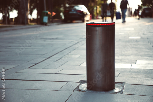 Cuadros en Lienzo Illuminated retractable automatic traffic bollard protects pedestrian zone