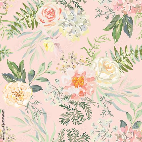 Tapety Vintage  rozowa-roza-kwiaty-piwonii-z-zielonymi-liscmi-bukiety-tlo-brzoskwini-ilustracja-kwiatowy-wektor-wzor-projekt-botaniczny-rosliny-letnie-przyrody-romantyczny-slub