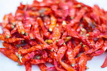 Red Chili Dried Peppers On A W...