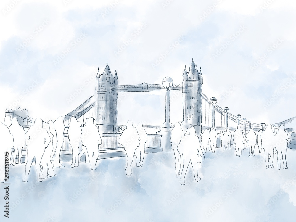 Unidentified people walking around area of Tower Bridge and River Thames. Hand drawn, watercolor digital painting style