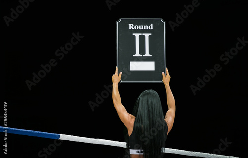 ring girl hold hands display in number of upcoming round Canvas Print
