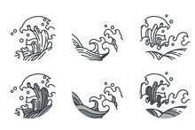 Japan Wave Line In Round Shape Vector Set Collection. Traditonal Vintage Style.