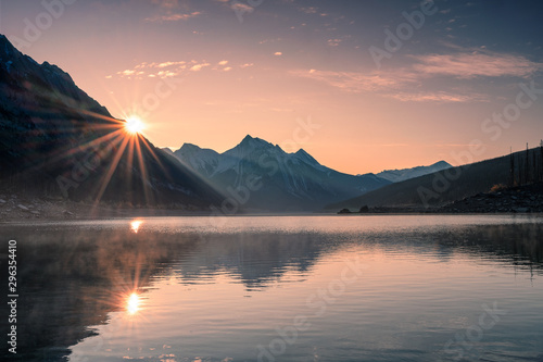 Sunrise on mountain with foggy in Medicine lake at Jasper - 296354410