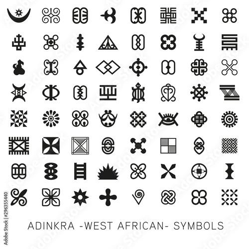 Cuadros en Lienzo  Set of akan and adinkra -west african- symbols vector