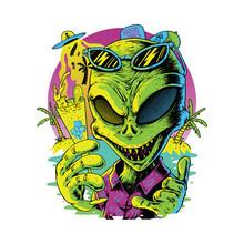 Alien Summer Graphic Design Illustration Vector Art T-shirt Design