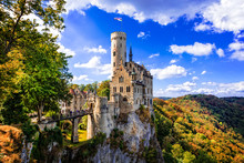 Beautiful Casles Of Germany- Impressive Lichtenstein Castle Over The Rock.