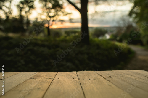 Fotografía  Autumn background with nature and in ground wooden planks