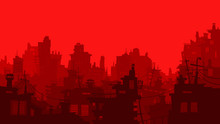 Red Cartoon City Background Wi...