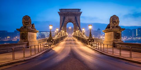 Historic Chain Bridge in Budapest in winter