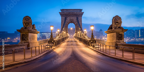 Historic Chain Bridge in Budapest in winter Wallpaper Mural