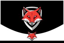Simple Fox Cartoon Badge Logo Vector Template For Sports Company