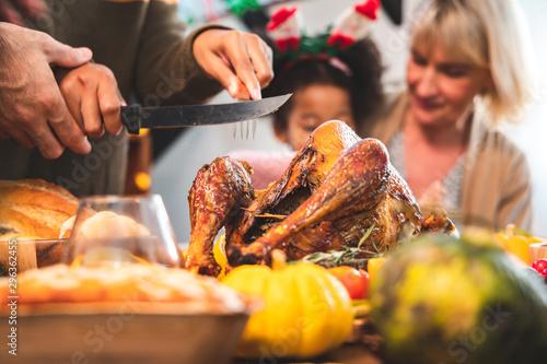 Thanksgiving Celebration Tradition Family Dinner Concept Obraz na płótnie
