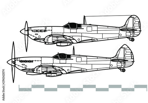 Fotografie, Tablou Supermarine Spitfire V - IX. Outline vector drawing