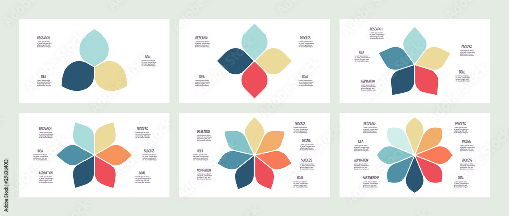 Fototapeta Business infographics. Flower pie charts with 3, 4, 5, 6, 7, 8 parts, options. Vector templates.