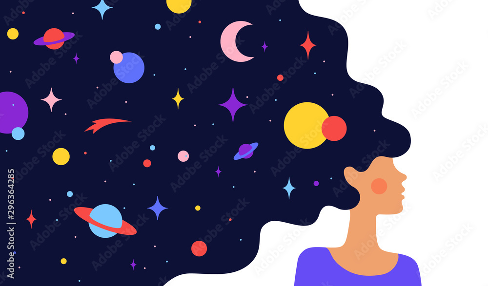 Fototapeta Woman with dream universe. Simple character of woman