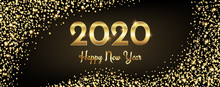 2020 Happy New Year Congratulation With Gold Sparkles And Text