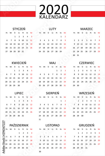Fotografía  Polish calendar for 2020