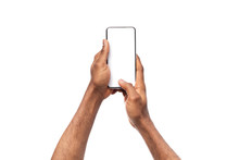 Black Man's Hands Holding Cellphone With Blank Screen, Taking Photo