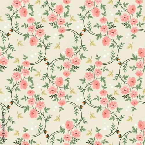 Hand drawn flowers seamless pattern. Canvas