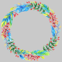 Isolated Watercolor Floral Wreath With Blue And Green Feathers On Grey Background