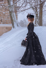 Portrait Of A Young Girl In An Old Black Dress, Profile, Winter, Snow, Park