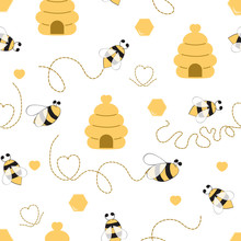 Seamless Pattern With Bee Hone...