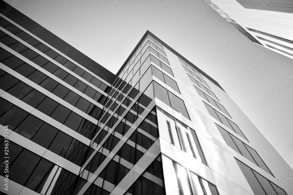 Fototapety, obrazy: Modern city office building exterior. Black and white.