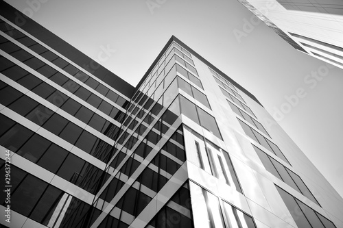 Modern city office building exterior. Black and white.