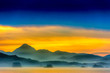 canvas print picture Silhouetted Mountains at Sunset over Ocean