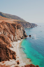 Aerial View Of Beach Cliffs And Turquoise Sea