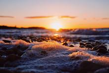 Close Up Of Sea Foam On Beach ...