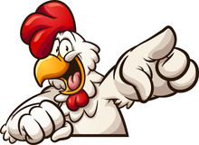 Happy Cartoon Chicken Pointing...