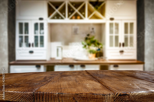 Table background of free space and kitchen interior