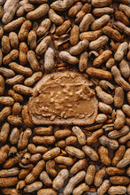 Unshelled Peanuts With Peanut Butter Sandwich