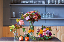 Bouquets Arranged In Glass Vas...