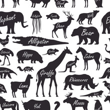 Seamless Pattern With Animal, ...