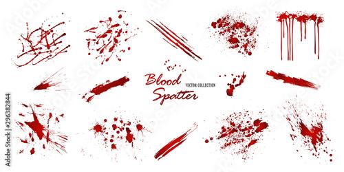 Valokuvatapetti Set of various blood or paint splatters isolated on white background