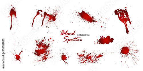 Stampa su Tela Set of various blood or paint splatters isolated on white background