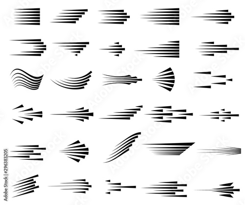 Photo Speed lines icons. Set of fast motion symbols.