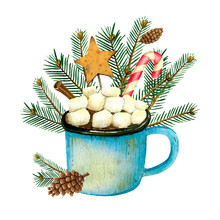 Watercolor Christmas Card With A Mug Of Cocoa, Marshmallows, Lollipops, Fir Branches And Cones. Hand Drawn Illustration On White Background. Holiday Symbol For Design.