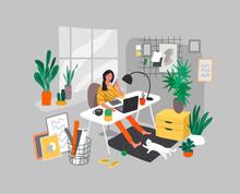 Freelancer Designer Girl Worki...