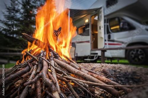 Fototapeta RV Park Camping Fire