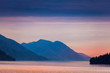 canvas print picture Pink Sunrise Over Ocean, Mountains