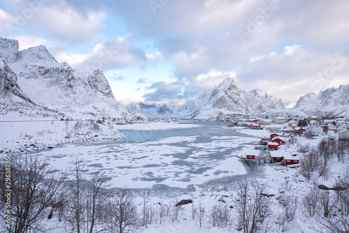 Fototapety, obrazy: The Lofoten Islands Norway is known for excellent fishing, nature attractions such as the northern lights and the midnight sun, and small villages with beautiful scenery