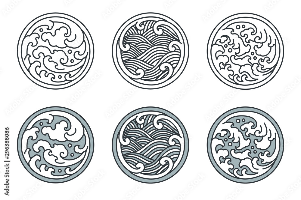 Abstract water wave line set.Japanese and Thai and Chinese.