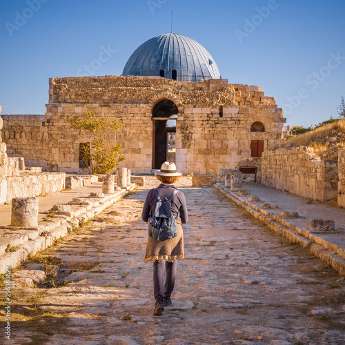 Lady walking along Colonnated Street toward the Monumental Gateway at Umayyad Pa Canvas Print