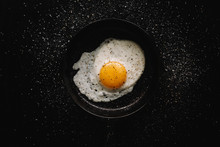 Overhead View Of Fried Egg Wit...